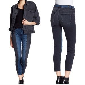 7fam frayed 2 tone panel colorblock skinny jeans